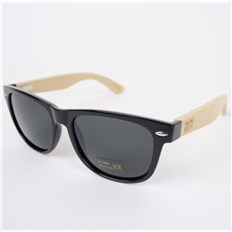 Glasses SNOWBITCH - Black frame bamboo arms with Smoke  lens 16 (BLACK)