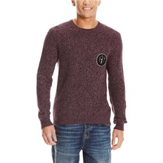 Sweatshirt BENCH - C Neck With Badge Dark Burgundy (BU017)