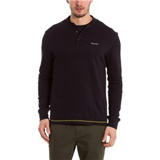 T-Shirt BENCH - Henley Longsleeve Black Beauty (BK11179)