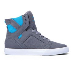 Shoes SUPRA - Kids Skytop Charcoal/Neon Blue-White (CHR)