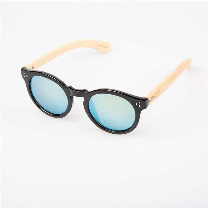 Sonnenbrille SNOWBITCH - black frame and gold mirror lens natural bamboo (BLACK)