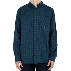 Hemd REELL - Faded Shirt AW18 Green / Navy (GREEN-NAVY)