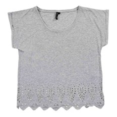 Tshirt BLEND SHE - Lasercut Light grey melange (20042)