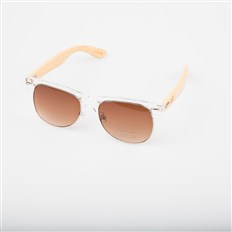 Sonnenbrille SNOWBITCH - white frame and brown lens natural bamboo (WHITE)