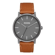 Armbanduhr NIXON - Porter Leather Gunmetal Charcoal Taupe (2494)