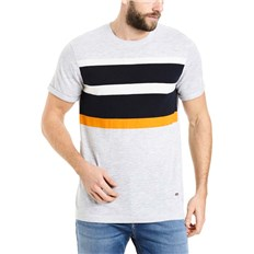 BENCH - Short Sleeve Printed Stripe Light Grey Marl Winter (MA1052)
