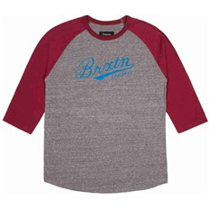 Tshirt BRIXTON - Fenway Heather Grey/Burgundy (0359)